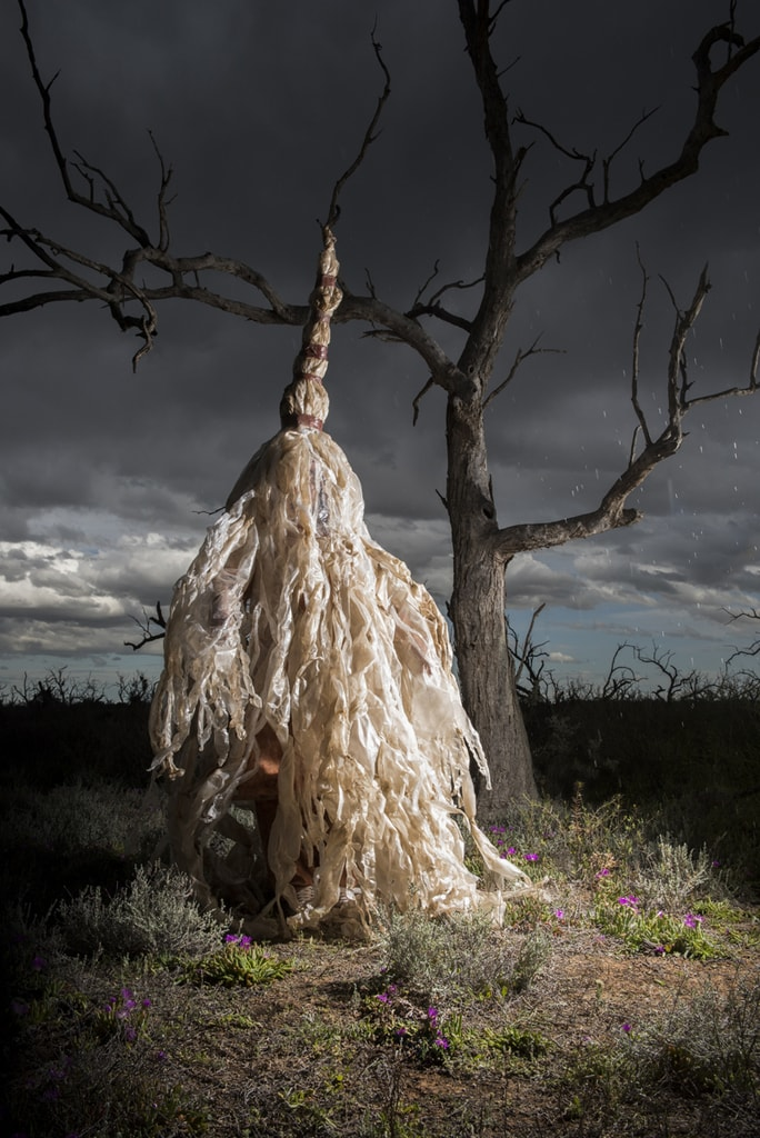 Flood, Berri Salt Plains, S.A. River Rites. Concept and Artistic Direction Jude Anderson Punctum Inc. 2015 Costume Glenys Leske